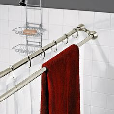 Gave me another idea... Hang two rods and and get my boyfriend to hang his wet towel on the inside of the shower so you can't see it!