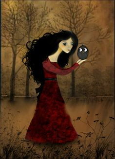 Girl And Owl Digital Art  - Girl And Owl Fine Art Print