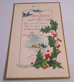 Vintage Postcard Christmas Embossed Bluebirds 1915 USA Divided Back    4296 #Christmas