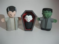 Here's Frankenstein, the Bride of Frankenstein and baby Dracula from our Halloween Nativity