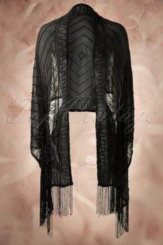 Unique Vintage - 20s Luxe Long Shawl in Black