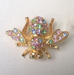 Joan Rivers Bee Brooch multiple colored by PassingTides on Etsy