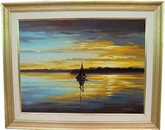Golden SUNSET OIL PAINTING Palette Knife by GerckenGallery on Etsy