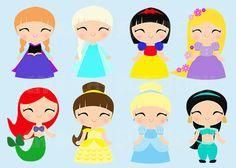 Instant Download 8 Princesses, Princess, Cute Kawaii Princess Digital Graphic, Clipart, Printable, cute fairy tale princess on Etsy, $8.00