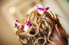 beach wedding hair with purple orchids - Google Search