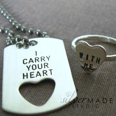 I carry your heart  PETITE dog tag and sterling silver HEART ring on Etsy, $56.00