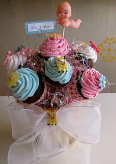 Fake Cupcake Retro Insp Cupcake Bouquet Unique Baby Shower Gift, Baby Shower Centerpiece 12 Legs Original Concept via Etsy