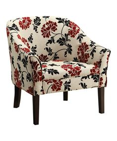 Red U0026amp; White Floral Accent Chair #