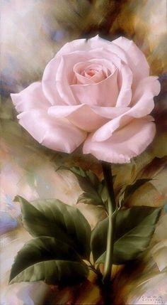 Floral Art - pink rose painting by Igor Levashov Arte Floral, Love Rose, Pretty Flowers, Color Rosa, Beautiful Roses, Beautiful Paintings, Flower Art, Amazing Art, Flower Power