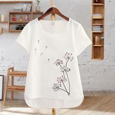 9bf0ec0abe4 Harajuku Summer Women Tops Cotton T-Shirt Embroidered Flowers Short Sleeve  White T-shirt
