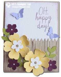 Today's video is a fabulous all occasions card. the flowers on the fence from the Bouquet Bigz Die and matching Build a Bouquet stamp set from Stampin Up are so fun together. This card could work for Mother's Day, Birthday, Graduation, or any celebration!  I love the flowers on the fence, and it's so easy to do. Check out the video below for details.