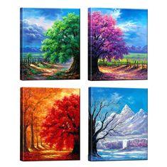 Framed Canvas Prints, Canvas Frame, Wall Canvas, Wall Art Prints, Tree Canvas, Diy Canvas, Four Seasons Painting, Four Seasons Art, Sisters Art