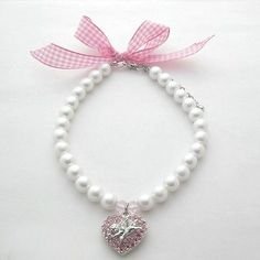 White dog pearls necklace collar with rhinestones heart&angel charm,pet jewelry
