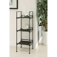The three tier square shelf is a simple storage unit can be used in just about every room in the house. As an added feature, this item . Metal Storage Shelves, Slatted Shelves, Display Shelves, Storage Spaces, Garage Storage, Shelving Units, Etagere Bookcase, Ladder Bookcase, Nebraska Furniture Mart