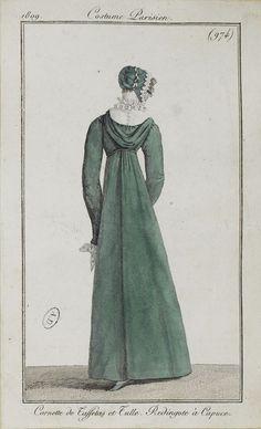 """Costume Parisien, 1809,     From the Bibliothèque des Arts Décoratifs via SceneInThePast flickr.   Plate 974  """"Cornette de Taffetas et Tulle.  Redingote à Capuce"""""""