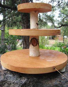 Wood slab cupcake stand