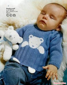 a cute teddy sweater - La Grenouille un pull au nounours trop mignon – La Grenouille Tricote a sweater with a cute teddy bear: it is a model that I love very much, I finally found the explanations and I am delighted - Baby Boy Knitting Patterns, Baby Clothes Patterns, Knitting For Kids, Baby Patterns, Free Knitting, Crochet For Boys, Crochet Baby, Crochet Amigurumi, Pull Bebe