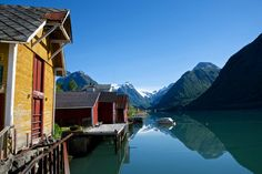Buildings on the shore of the Sognefjord
