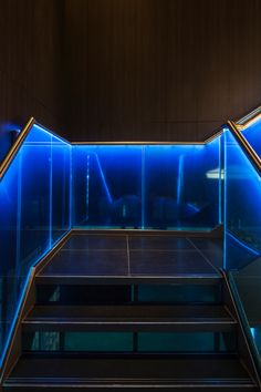 Yauatcha Город вход по лестнице с синей подсветкой
