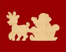Santa Sleigh Wood Cutout , Craft Shapes , Gift Tags, Ornaments (Various Sizes) CX24