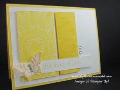 cut 2 pieces of card stock, one Whisper White, and one Daffodil Delight, lay them side by side & stamp the Sunflower background stamp onto both pieces. To take away the contrast of the Sunflower against the Whisper White card stock, light cover the white areas with a sponge and Daffodil ink. Butterfly is More Mustard ink