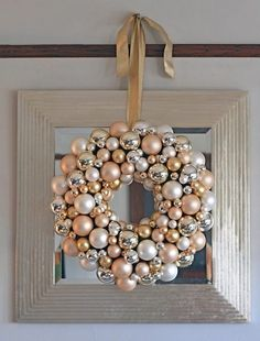 37083adce307 Do-It-Yourself Bright Ornament Wreath. Gold Christmas ...