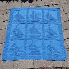 Come Sail Away Baby Blanket Free Knitting Pattern Free Baby Blanket Patterns, Baby Knitting Patterns, Baby Blanket Crochet, Knitting Stitches, Crochet Baby, Knitting Blocking, Knitting Squares, Knitted Blankets, Knitted Afghans