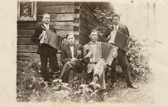 """The accordion in Finland – an instrument of contradictions"" - Finnish Music Quarterly article, June 2015. In photo: August Pulli, Kalle P., Pentti Kokki, Asko Saukkonen. From the book Suomalaisen harmonikan historia."