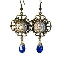 Vintage Button Earrings, Filigree Earrings, Blue Dangles, Upcycled, Repurposed, Remade