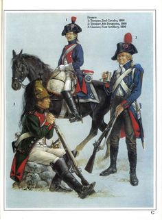 French; 1800 L to R 8th Dragoons, 2nd Line Cavalry and Foot Artillery