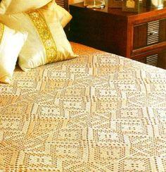 Crochet bedspread ♥LCM-MRS♥ with diagram, click on red letter wording #04 to view diagram ---::ArtManuais- Tecnicas de Artesanato | Moldes para Artesanato | Passo a Paso