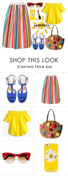 """""""In Full Colour"""" by stavrolga ❤ liked on Polyvore featuring Zara, Alice + Olivia, J.Crew, Sam Edelman, Dolce&Gabbana, Kate Spade, Bobbi Brown Cosmetics, polyvoreeditorial, polyvorecontest and summerbrights"""