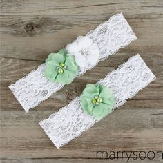 Moss green and white lace wedding garter set, pastel green wedding garter