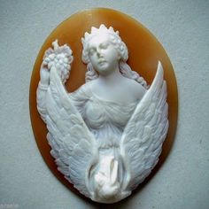 "LARGE 2""+ ANTIQUE VICTORIAN HGH RELIEF CARVED SHELL CAMEO UNMOUNTED 'FEBE & ZEUS in Jewelry & Watches, Vintage & Antique Jewelry, Fine 
