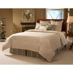"""Allentown Eleven Piece Queen Super Bed Pack from Bellacor; moss green plaids and stripes with rich, woven leafy textures of green and a natural-colored matelaisse; Queen 95x95; $312.95; Includes comforter, bedskirt (18"""" drop), shams (30""""), tri-pillow pack, euro covers, & euro inserts"""