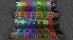 Terraqueous Mod - Flowers - Sixteen different color flowers generate in the world. These can be used to make dye or for decoration.For decoration there are 2 types of planter pots. Cute Minecraft Houses, Minecraft Farm, Minecraft Mansion, Minecraft Banner Designs, Minecraft Banners, Minecraft Plans, Amazing Minecraft, Minecraft Decorations, Minecraft House Designs