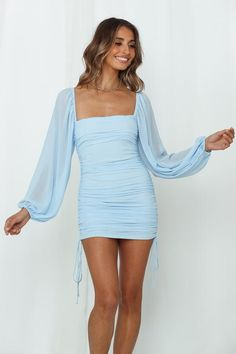 Mini Dresses | Shop Day and Night Wear Online | Hello Molly One Sleeve Dress, Long Sleeve Short Dress, Sleeve Dresses, Baby Blue Dresses, Hoco Dresses, Mini Dresses, Tight Blue Dress, The Dress, Formal Dresses With Sleeves
