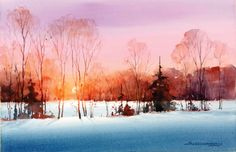 Paint a sunset in 10 simple steps - A watercolor demo