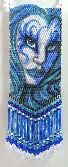 Hydra Female Water Elemental Beaded Amulet Bag by LazyRose on Etsy