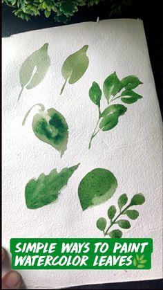 Watercolor Paintings For Beginners, Watercolour Art, Watercolor Leaves, Watercolour Tutorials, Gouache Painting, Watercolor Illustration, Drawing Art, Art Drawings, Leaf Template