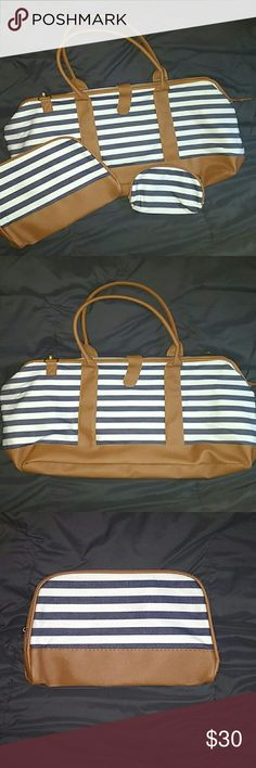 NWT striped bag set Large tote, large makeup bag and smaller makeup bag Bags Totes