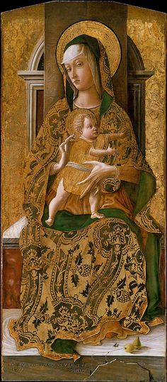CARLO CRIVELLI (1435 – 1495) | Polittico del 1472. Madonna Linsky.  New York, Metropolitan Museum.  *Il Polittico del 1472 (o Fesch o Eckinson) è un dipinto a tempera e oro su tavola di Carlo Crivelli, datato al 1472 su pannello centrale e oggi smembrato tra musei europei e americani.