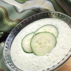 Tzatziki Sauce- use for gyros, dip or sauce for chicken, veggies , etc (use seedless cucumber or de-seed, then shred and pat dry before mixing in)
