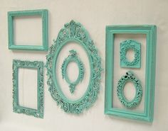 Shabby Chic Picture Frames Set Aqua by MountainCoveAntiques, $89.00