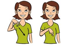 Video: Downstairs in Baby Sign Language Signing: To sign downstairs we use our dominant hand with middle and index finger pointing downward.