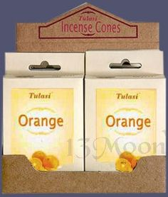 Orange Cone cones of Orange Incense by Tulasi.A soothing fragrance for those stressful days.