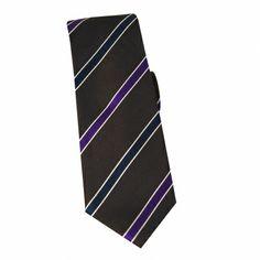 Cravate en soie marron à rayures marine et prune #cravate http://www.cafecoton.fr/cravate-soie-homme/10895-cravate-en-soie-marron-a-rayures-marine-et-prune.html