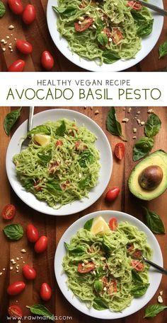 Creamy Avocado Basil Pesto. Prepare this easy recipe in minutes with your favorite pasta! #vegan #glutenfree www.rawmanda.com