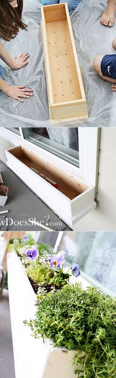 How to make a gorgeous window box. Would be good for a deck rail, too.