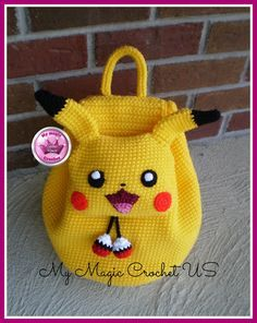 Pikachu Crochet Backpack by MyMagicCrochetUS on Etsy